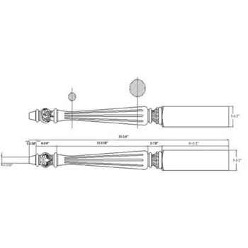 "Woodworx Acanthus Table Leg, 3-1/2""W x 3-1/2""D x 35-1/4""H"