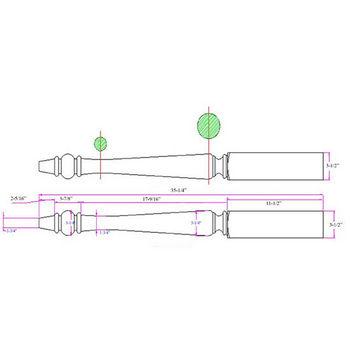 "Woodworx French Table Leg, 3-1/2""W x 3-1/2""D x 35-1/4""H"