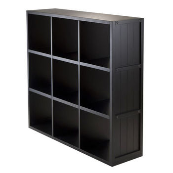 Winsome Wood Shelf 3 x 3 Cube Wainscoting Panel in Black