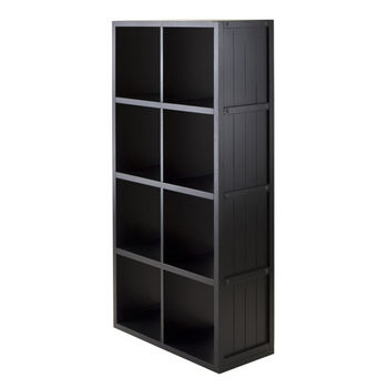 Winsome Wood Shelf 4 x 2 Slots Wainscoting Panel in Black