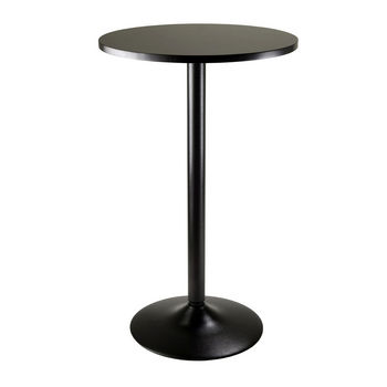 Winsome Wood WS-20123, Pub Table Round MDF Top with Leg And Base, Black, 23.66'' W x 23.66'' D x 39.76'' H
