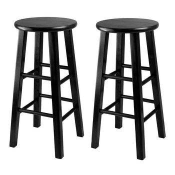 """Winsome Wood WS-20224, Set of 2, Counter Height Stools, 24"""" Square Leg Stools, Black, 13.4'' W x 13.4'' D x 24.2'' H"""
