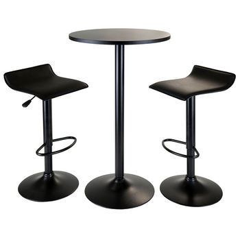 Winsome Wood WS-20313, Obsidian 3-Piece Pub Set, Round Table with 2 Airlift Stools, Black, 23.62'' W x 23.62'' D x 39.76'' H
