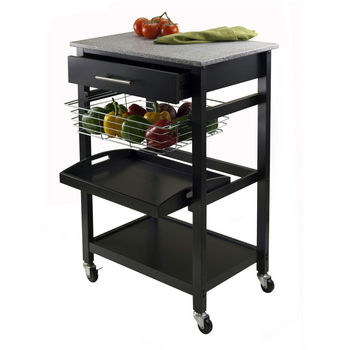 Winsome Wood WS-20322, Julia Utility Cart, Black , 22.68'' W x 16.06'' D x 34.13'' H