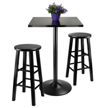 Winsome Wood WS-20323, 3-Piece Counter Height Dining Set, Square Table Top And Metal Legs with 2 Wood Stools, Black, 22.68'' W x 16.06'' D x 34.13'' H