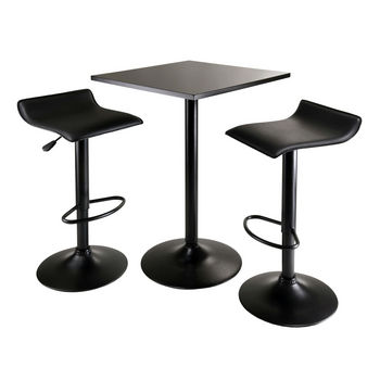 Winsome Wood WS-20325 Obsidian 3-Piece Table Set Square Table Counter Height with 2 Airlift Stools Black 23.62\u0027\u0027 W..  sc 1 st  KitchenSource.com & Pub Tables \u0026 Stool Sets for the Bar Game Room or Kitchen at Great ...
