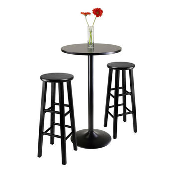 "Winsome Wood WS-20331, 3-Piece Round Black Pub Table with Two 29"" Wood Stool Square Legs, Black, 23.66'' W x 23.66'' D x 39.76'' H"