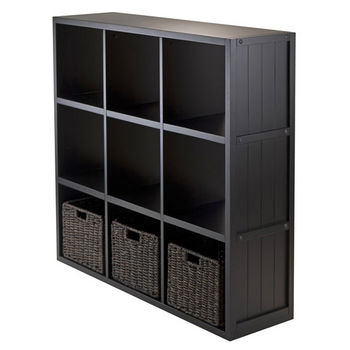 Winsome Wood 4-Pc Wainscoting Panel Shelf 3 x 3 Cube with 3 Foldable Baskets in Black