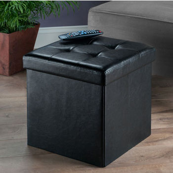 """Winsome Wood Ashford Collection Faux Leather Ottoman with Storage in Black, 15"""" W x 15"""" D x 15"""" H"""