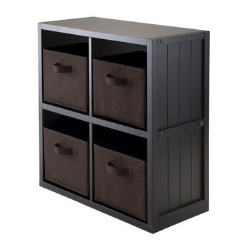 Winsome Wood 5-PC Wainscoting Panel Shelf 2 x 2 with 4 Chocolate Fabric Baskets in Black / Chocolate