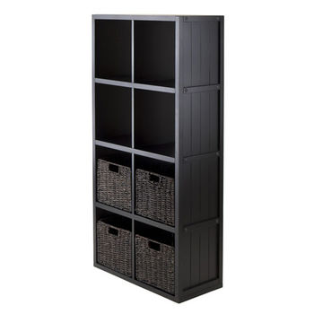 Winsome Wood 5-PC Wainscoting Panel Shelf 4 x 2 Cube with 4 Foldable Baskets in Black