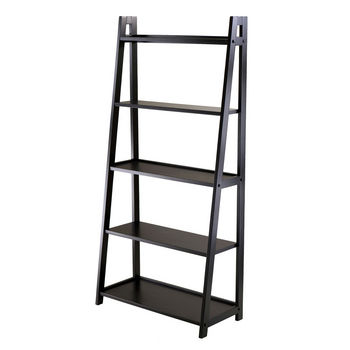 Winsome Wood WS-20513, Adam 5-Tier A-Frame Shelf , Black, 27.87'' W x 12.99'' D x 58.03'' H
