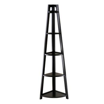 Winsome Wood WS-20527, Adam 5-Tier A-Frame Corner Shelf, Black, 18.39'' W x 12.99'' D x 58.03'' H