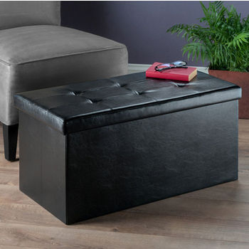 """Winsome Wood Ashford Collection Faux Leather Ottoman with Storage in Black, 29-59/64"""" W x 14-4/5"""" D x 15"""" H"""