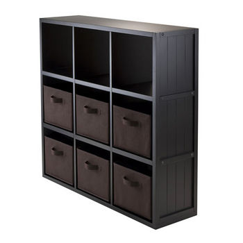 Winsome Wood 7-Pc Wainscoting Panel Shelf 3 x 3 Cube with 6 Chocolate Foldable Baskets in Black / Chocolate
