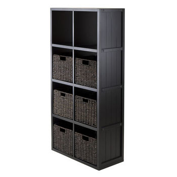 Winsome Wood 7-Pc Wainscoting Panel Shelf 4 x 2 Cube with 6 Foldable Baskets in Black