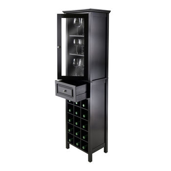 Winsome Wood WS-20667, Burgundy Wine Cabinet 15-Bottle, Glass Door, Black, 18.11'' W x 12.99'' D x 66.85'' H
