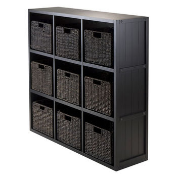 Winsome Wood 10-Pc Wainscoting Panel Shelf 3 x 3 Cube with 9 Foldable Baskets in Black