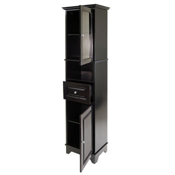 Winsome Wood WS-20871, Alps Tall Cabinet with Glass Door And Drawer, Black, 18.11'' W x 12.99'' D x 70.87'' H