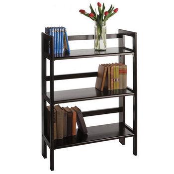 Winsome Wood Stackable 3-Tier Folding Shelf, Black Finish