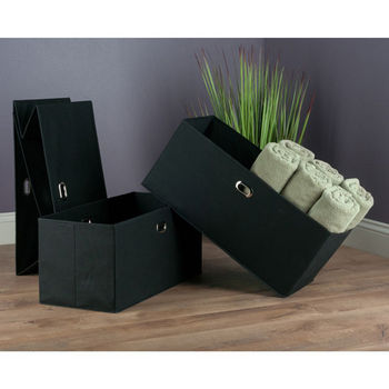 "Winsome Wood Torino Collection 3-Piece Set Folding Fabric Baskets in Black, 23-1/32"" W x 10-1/4"" D x 10-1/4"" H"