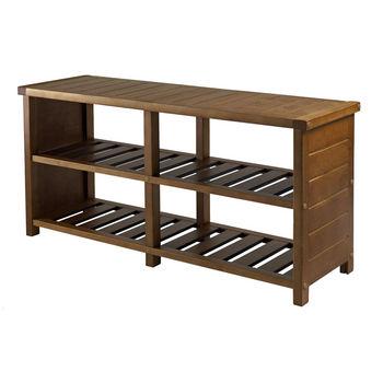 Winsome Wood WS-33348, Keystone Shoe Bench , Teak, 38.39'' W x 11.81'' D x 18.27'' H