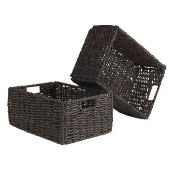 Winsome Wood Granville Set of 2 Medium Foldable Baskets in Chocolate, 11''W x 16''D x 7''H
