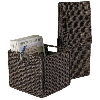 Winsome Wood WS-38211, Granville Foldable 2-Piece Small Corn Husk Baskets, Chocolate, 11.02'' W x 10.24'' D x 9.06'' H