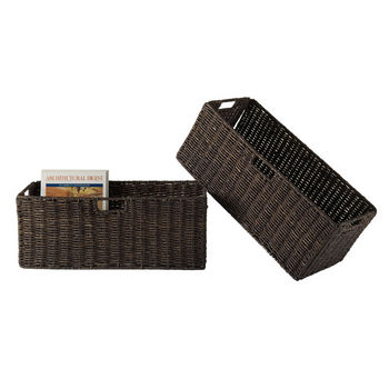 Winsome Wood WS-38223, Granville Foldable 2-Piece Large Corn Husk Baskets, Chocolate, 22.83'' W x 10.24'' D x 9.06'' H