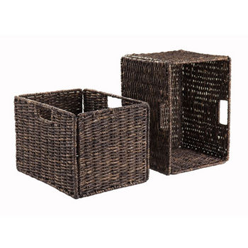 Incroyable Winsome Wood Granville Foldable 2 Pc Tall Baskets Corn Husk In Chocolate,  13 3/4u0027u0027W X 10 7/16u0027u0027D X 9 7/16u0027u0027H, Min Cab.