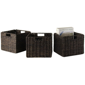 Winsome Wood WS-38310, Granville Foldable 3-Piece Small Corn Husk Baskets, Chocolate, 11.02'' W x 10.24'' D x 9.06'' H