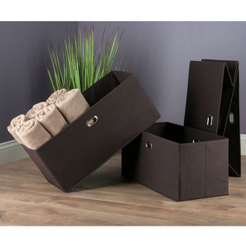"Winsome Wood Torino Collection 3-Piece Set Folding Fabric Baskets in Chocolate, 23-1/32"" W x 10-1/4"" D x 10-1/4"" H"