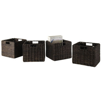 Winsome Wood WS-38409, Granville Foldable 4-Piece Small Corn Husk Baskets, Chocolate, 11.02'' W x 10.04'' D x 9.06'' H