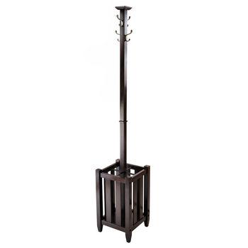 Winsome Wood WS-40474, Memphis Coat Tree & Umbrella Rack, Cappuccino, 12.91'' W x 12.91'' D x 71.52'' H