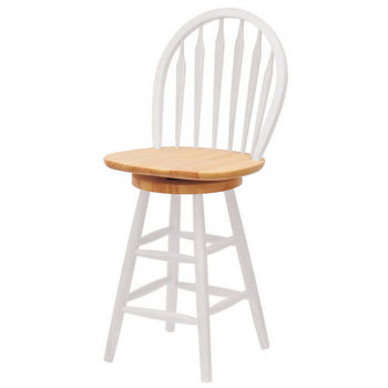 "Winsome Wood 24"" Windsor Swivel Bar Stool with Arrow Back in Natural Finish with White"