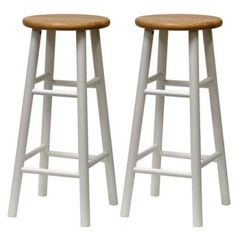 "Winsome Wood 30"" Bar Stool in Natural Finish with White Legs"