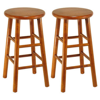 """Winsome Wood 24"""" Bar Stool with Bevel Seat in Heritage Cherry Finish"""