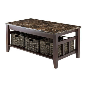 Winsome Wood Zoey Coffee Table Faux Marble Top in Chocolate, 40''W x 22-1/16''D x 18-1/8''H