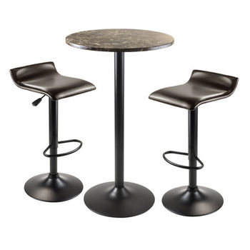 Winsome Wood Cora 3pc Round Pub Table with 2 Swivel Stools in Black