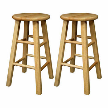 """Winsome Wood 24"""" Natural Wood Stools with Square Legs in Set of 2 12""""W x 12""""D x 24""""H"""