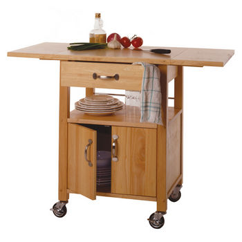 Winsome Wood Mobile Kitchen Cart with Drop Leaves