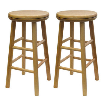 "Winsome Wood 24"" Swivel Seat Bar Stool in Natural Finish"