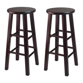 """Winsome Wood WS-92260, Set of 2, 30"""" Bar Height Stools, Square Legs, Espresso, 13.6'' W x 13.6'' D x 29.1'' H"""