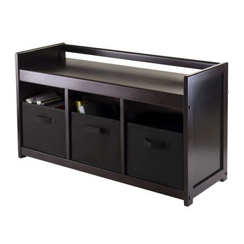 Winsome Wood WS-92301, Addison 4-Piece Storage Bench with 3 Foldable Fabric Baskets In Black, Espresso / Chocolate, 37.40'' W x 13.39'' D x 20.87'' H