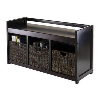 Winsome Wood WS-92380, Addison 4-Piece Storage Bench with 3 Foldable Corn Husk Baskets, Espresso / Chocolate, 37.40'' W x 13.39'' D x 20.87'' H