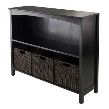 Winsome Wood WS-92410, 4-Piece Storage 3-Tier Shelf with 3 Small Baskets, Dark Espresso, 37'' W x 11.81'' D x 30'' H