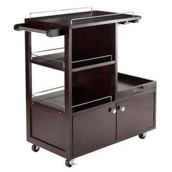 Winsome Wood Galen Entertainment Cart In Espresso, 34 1/4u0027u0027W X 16 3/4u0027u0027D X  34 3/8u0027u0027H
