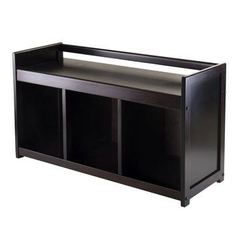 Winsome Wood WS-92439, Addison Storage Bench with 3-Section, Dark Espresso, 37.40'' W x 13.39'' D x 20.87'' H