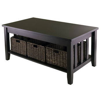 Winsome Wood WS-92441, Morris Coffee Table with 3 Foldable Baskets, Espresso, 40'' W x 22.05'' D x 18.11'' H