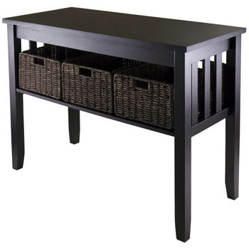 Winsome Wood WS-92452, Morris Console Hall Table with 3 Foldable Baskets, Espresso, 40'' W x 18.11'' D x 29.92'' H
